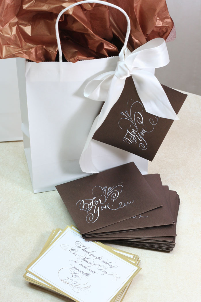 Wedding Gift Bags with Calligraphy Thank You Note