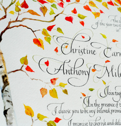 Wedding Certificate with calligraphy and birch trees