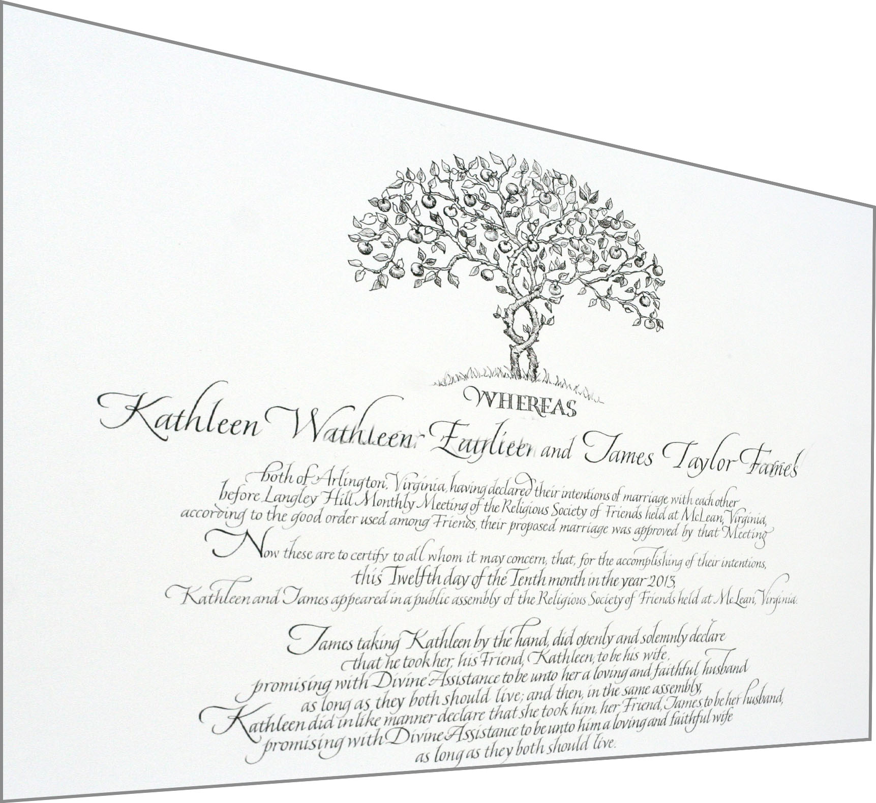 Hand lettering archives sally sanders calligraphy design entwined trees wedding certificate 1betcityfo Images