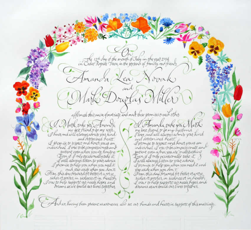 Wedding And Certificate Floral Border Border Clipart: Quaker Wedding Certificates