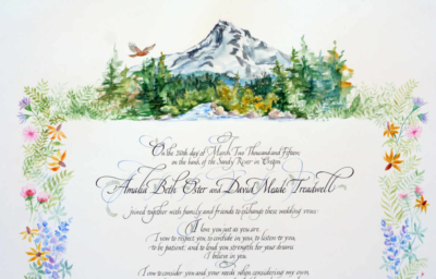A Quaker Wedding Certificate with a painting of Mt. Hood and floral border