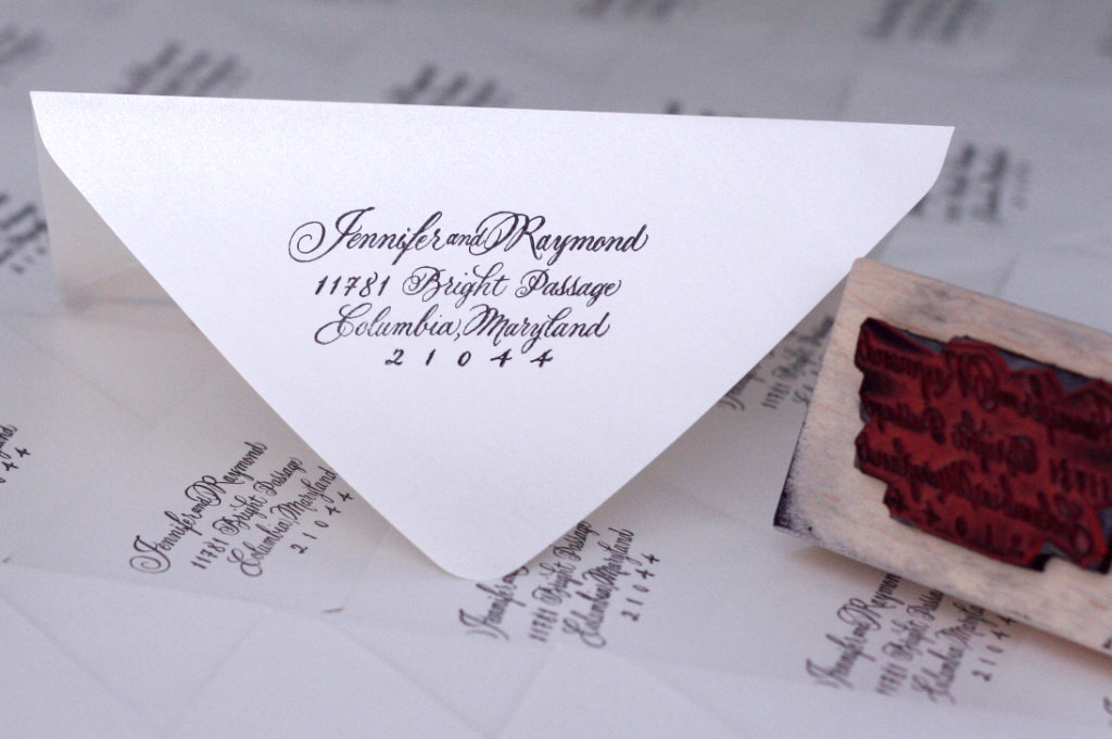 A custom calligraphy address stamp