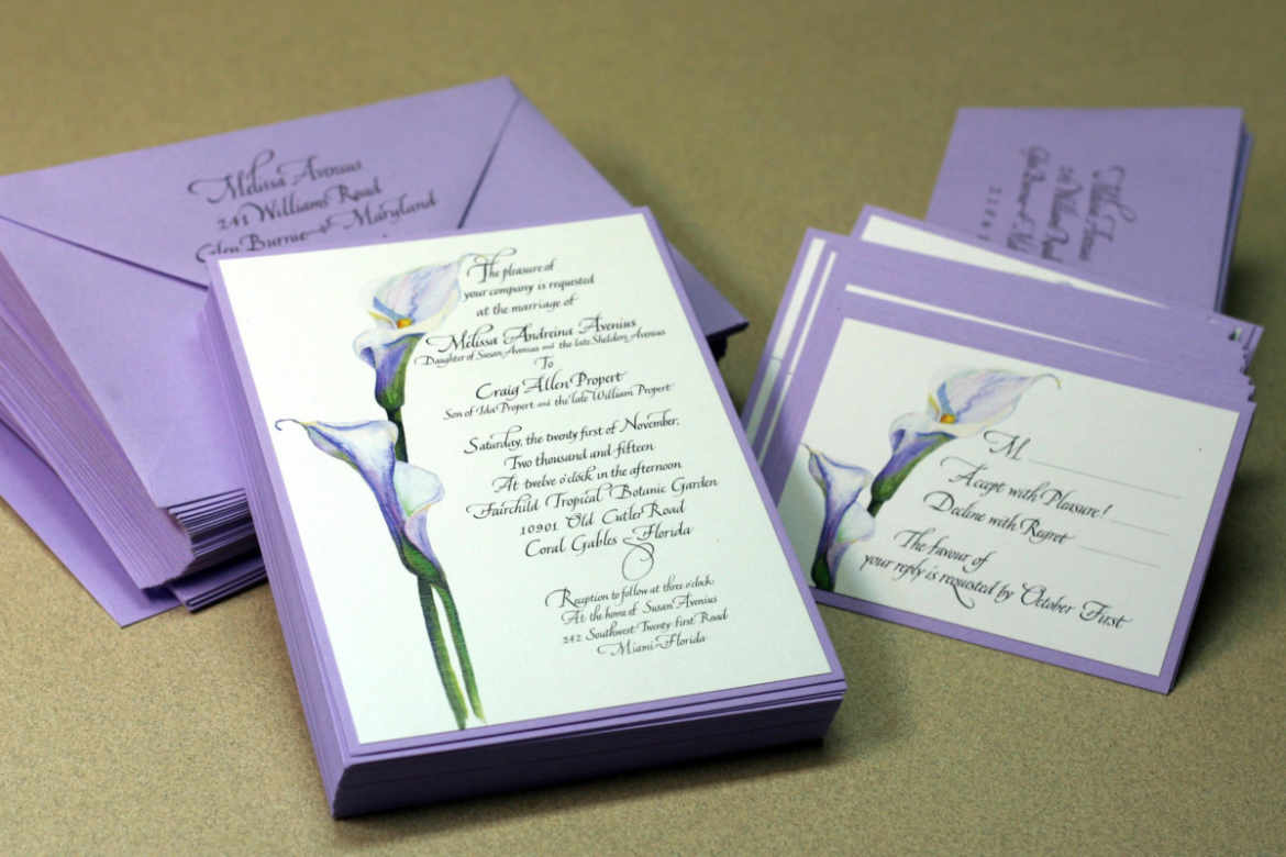 Calla lily wedding invitation with RSVP card and envelopes