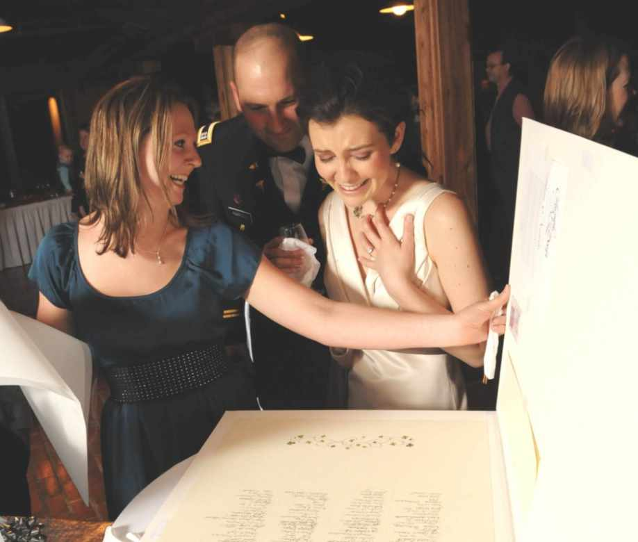 Happy bride opening her Quaker Wedding Certificate on her wedding day