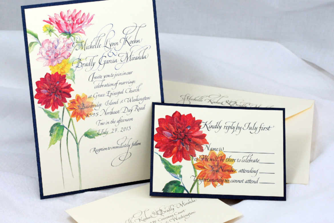 Wedding invitation with peonies including RSVP card