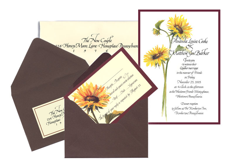 Sunflower wedding invitation ensemble with RSVP card