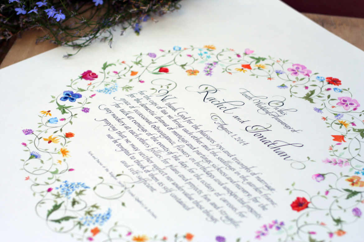 Anniversary commemorative piece with floral border