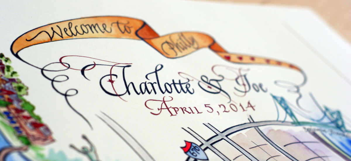 Close-up of the names on a wedding map