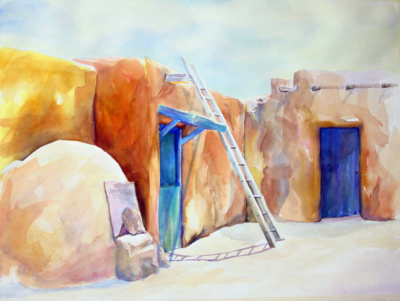 Watercolor painting of a Taos courtyard with a ladder