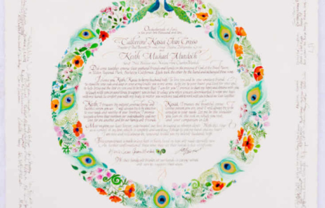 Quaker wedding certificate with a full circular border and signatures