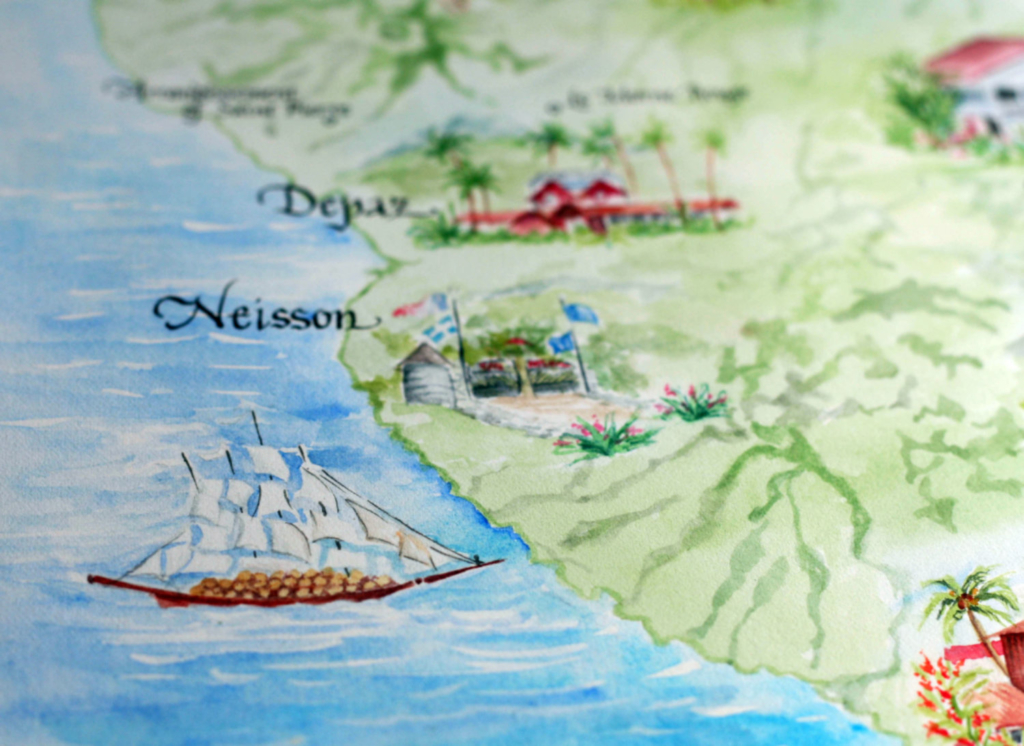 A custom wedding map of Martinique with paintings of coastal towns and boats