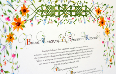 Quaker Wedding Certificate with Celtic Knots