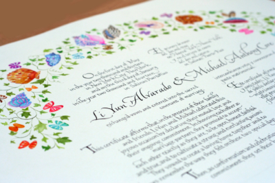 Quaker Wedding Certificate bordered by painted seashells