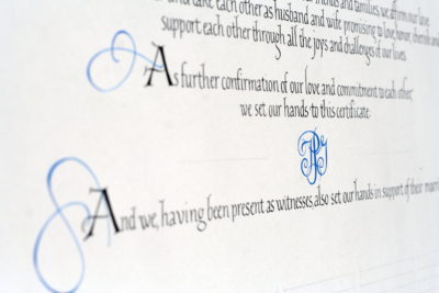 Simple Quaker Wedding Certificate with italic calligraphy and blue flourishes