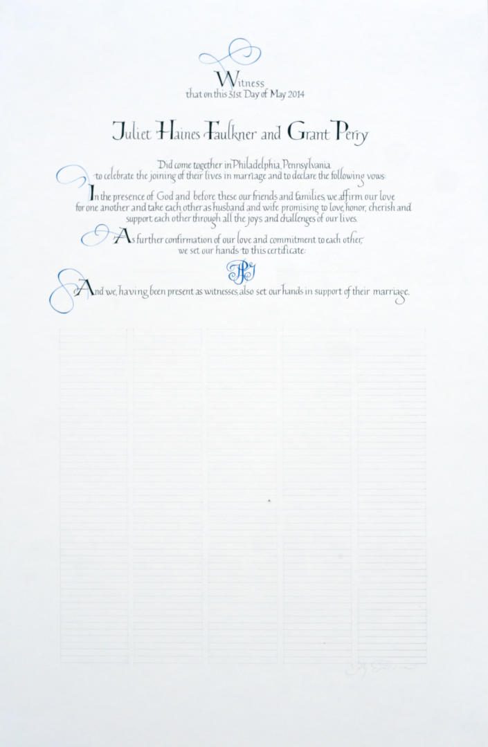 Simple Quaker Wedding Certificate with blue accents and flourishes