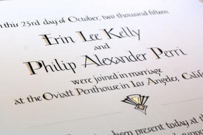 Art deco style Quaker Wedding Certificate