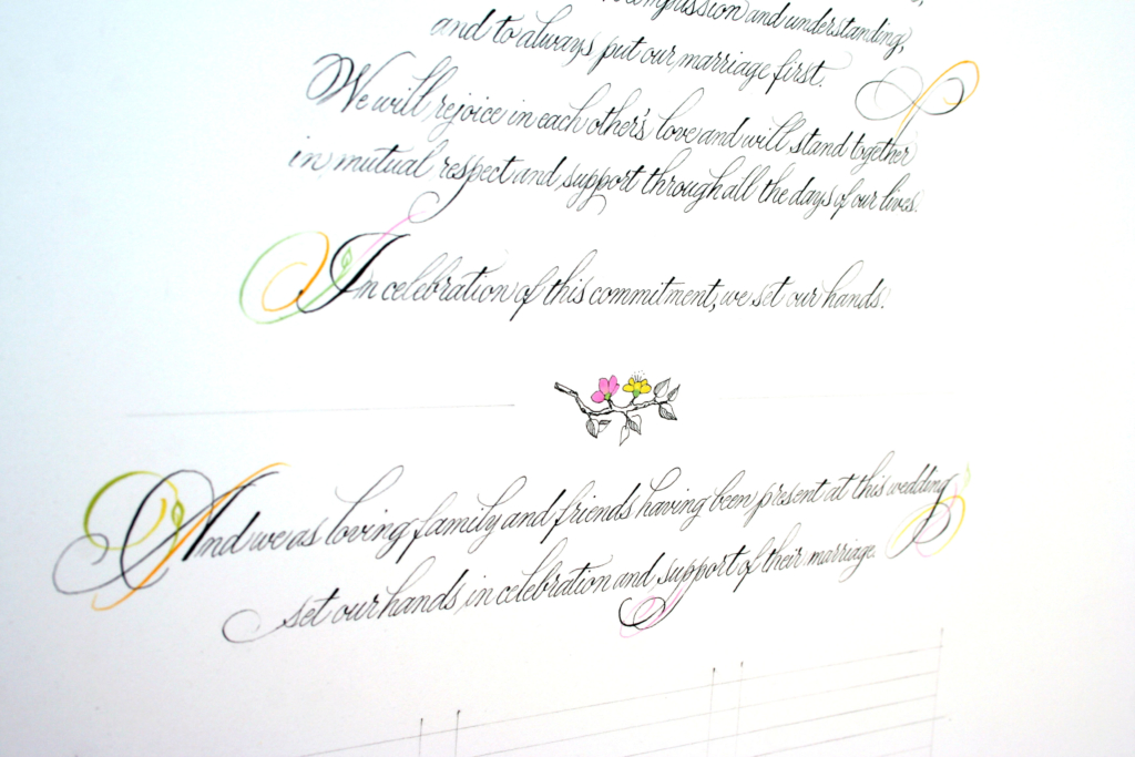 Spencerian calligraphy wedding certificate with watercolor illustration of fruit and squirrels, tree of life