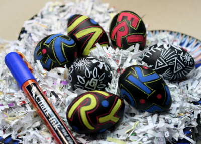 Chalk colored easter eggs