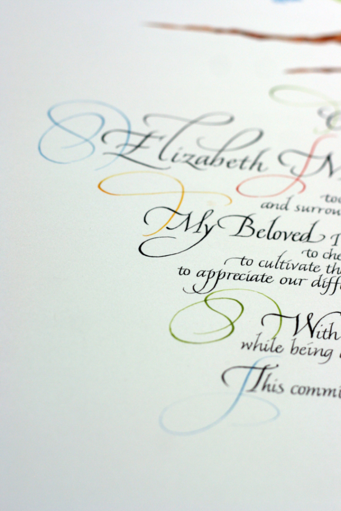 Calligraphy flourishes on wedding certificate signing tree