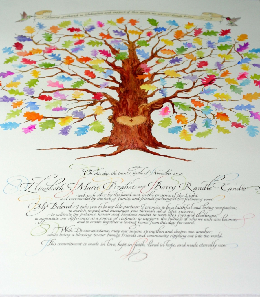 wedding signing tree, wedding certificate fall oak tree for signing