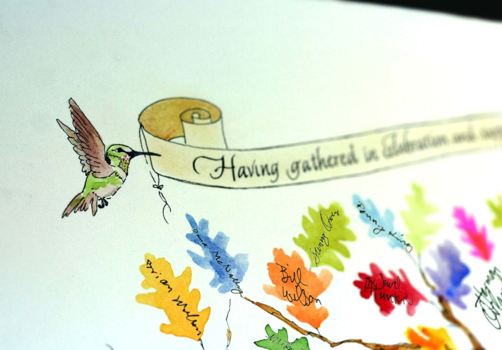 watercolor Hummingbird on wedding certificate for signing